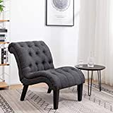 YongQiang Living Room Chairs Upholstered Tufted Bedroom Accent Chair Curved Backrest Fabric Lounge Chair with Wood Legs Gray