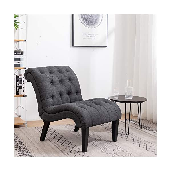 Yongqiang Living Room Chairs Upholstered Tufted Bedroom Accent Chair Curved Backrest...
