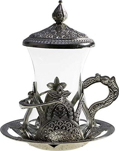 Teeservice 24 Teilig Osmanischer Art | Silber | Glas | Stahl |