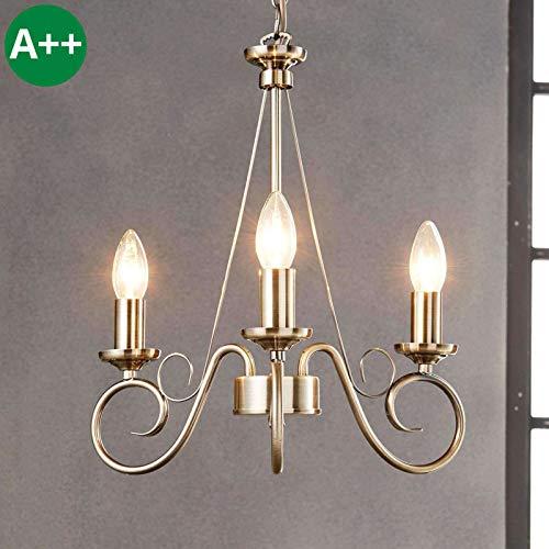 Lindby Kronleuchter 'Marnia' dimmbar (Retro, Vintage, Antik) in Bronze aus Metall u.a. für Wohnzimmer & Esszimmer (3 flammig, E14, A++) - Pendelleuchte, Hängelampe, Lüster, Lampe, Deckenleuchte