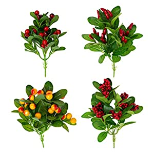 Amosfun 4pcs Artificial Fruit Flower Branch Fake Cherry Rhododendron Silk Berry Stem Faux Lifelike Plant Fruit Bouquet for Wedding Bridal Home Kitchen Party Decor