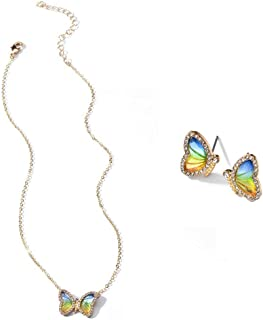 Colorful Cubic Zircon Crystal Rhinestone Transparent Butterfly Pendant Necklace and Stud Earrings Set Dainty Sweet Insect ...