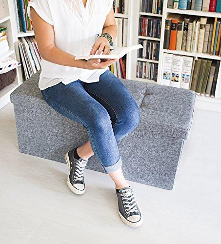 Relaxdays faltbare Sitzbank XL, Leinen, grau, 76x38x38cm - 2