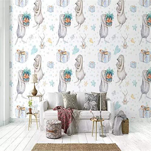 4D behang muurschilderingen, Nordic cartoon schattige dieren en bloemen geschenken kunstdruk grootte fotobehang voor kinderkamer kinderkamer achtergrond wandsieraden, 76 × 108 in 190 cm (H) X 270 cm (W) 100in×144in 250cm(H)×360cm(W)