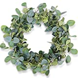 "HomeKaren Eucalyptus Wreaths for Front Door 20"", Handmade Green Leaves Wreath for Summer, Spring and All Seasons, Greenery Floral Wreath for Wall and Outside"