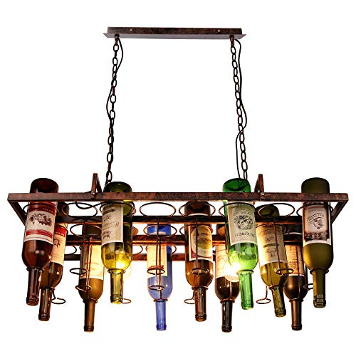 Newrays Loft Retro Hängende Weinflasche Führte Decke Eisen Pendelleuchten E27 Led für Wohnzimmer Bar Restaurant Küche Hause,Flaschen nicht enthalten