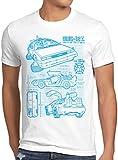 style3 DMC-12 Blaupause T-Shirt Herren Zeitreise 80er McFly Blueprint Auto Car, Größe:L, Farbe:Weiß