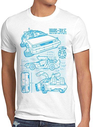 style3 DMC-12 Blaupause T-Shirt Herren Zeitreise 80er McFly Blueprint Auto Car, Größe:XL, Farbe:Weiß