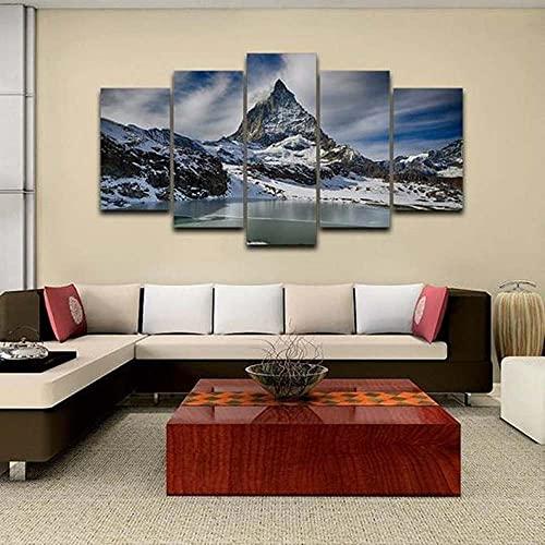 Cuadro En Lienzo 5 Pieza Pintura En Lienzo The Matterhorn Swiss Alps - Nature Arte De La Pared 5 Piezas Imagen Impresión En Lienzo Imagen De Pared Decoración del Hogar 150X80Cm