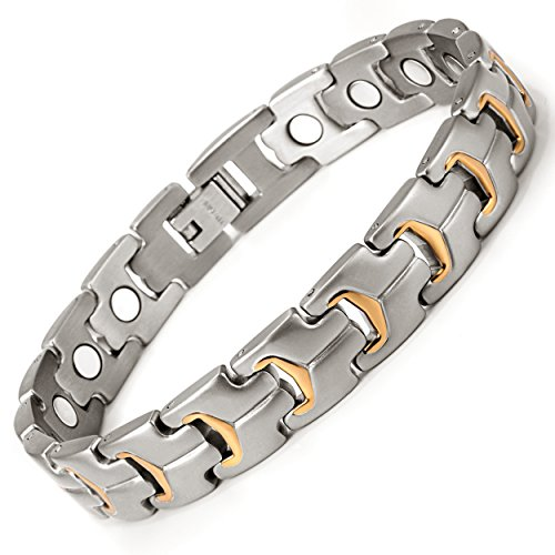RainSo Mens Light Titanium Magnetic Health Therapy Anklets Pain Relief for ArthritisAdjustable
