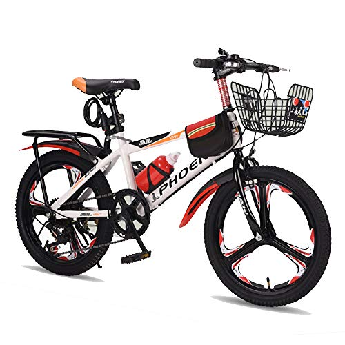 BAOMEI Kids Bike 18' 20' Kids Outdoor Bicycle 8-Speed Adjustable,for 7-14Years Old Boys and Girls Adjustable Children Mountain Bike (Color : White, Size : 20in)