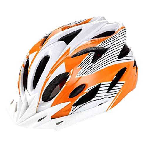 fuchsiaan Fahrradhelm & Ski Helm fur Herren Damen, Erwachsene Atmungsaktiv Leichte Fahrrad Schutzhelm Cap mit Rücklicht, Mountain Road Bike Trekking City Rennradhelme Orange+White