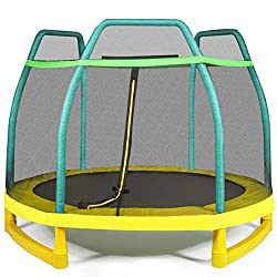 【Safe Enclosed Trampoline】Seamless design between the enclosure net and the mat allows that your kids will not get stuck in the gap. And EPE foam protective sleeve prevents your kids from unexpected knock while jumping freely. And the large round jum...
