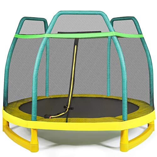 COSTWAY 7ft Kids Trampoline with Safety Enclosure Net, Spring Pad and Zipper, Heavy Duty Steel Frame Jumping Trampolines for Indoor Outdoor (Green)