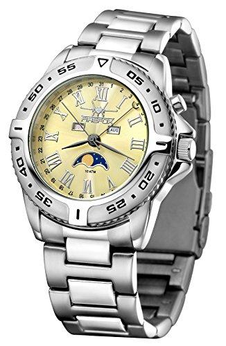 FIREFOX maanfasehorloge FFS01-510 Sunray saturngold massief roestvrij staal dameshorloge herenhorloge horloge veiligheidsvouwsluiting 10 ATM testdruk Miyota werk 6P80