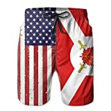 Jiger American Flag Canada Surfing Pocket Elastic Waist Men's Beach Pants Shorts Beach Shorts Swim TrunksM