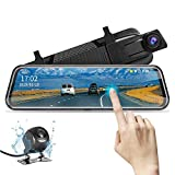 10' Rearview Mirror Camera Backup Camera Mirror Dash Cam Full Touch Screen with Loop Recording, Backup Mirror1080P Streaming Media DVR 170° Wide Angle Night Vision, Parking Reversing Camera