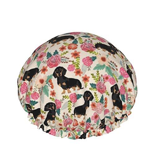 Gorro de ducha ajustable con doble capa impermeable, protección del cabello, reutilizable para mujeres y hombres (flores de doxie, salchicha, perro perro perro perro linda mascota)