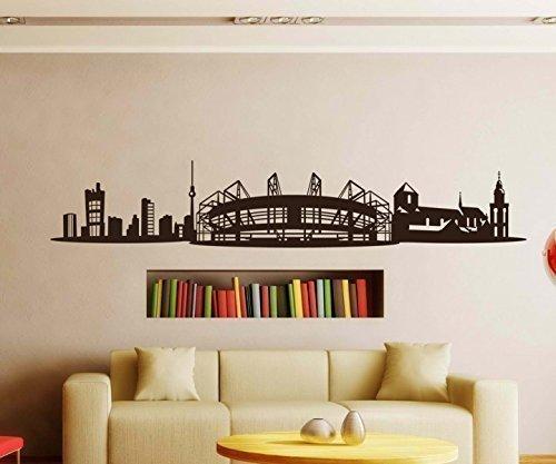 Wandtattoo Mönchengladbach Skyline Stadt Wand Sticker Aufkleber Wandbild 1M081, Farbe:Schwarz glanz;Länge des Motives:100cm