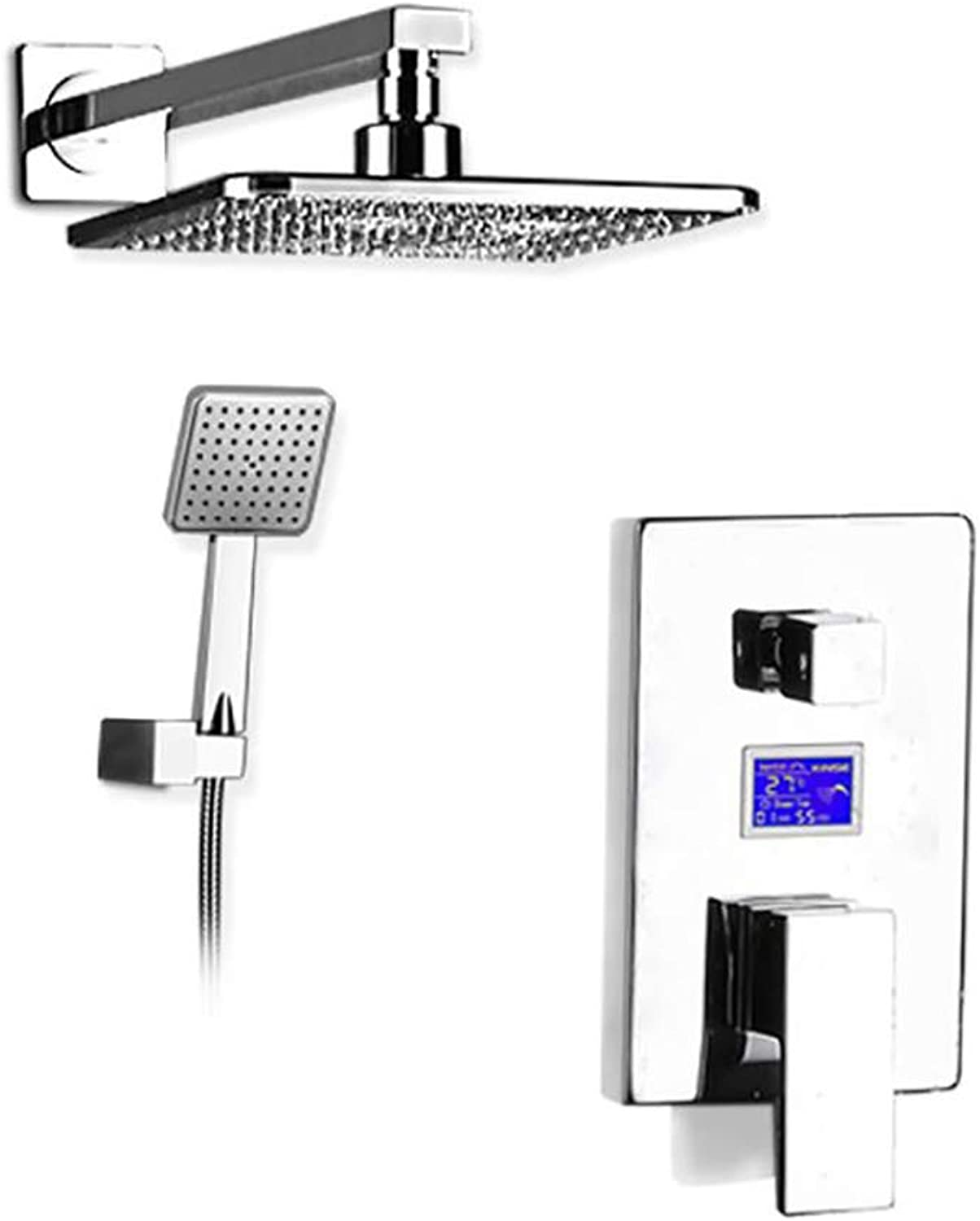 TEHWDE Unterputz Duschsystem mit Duschkopf Kopfbrause Regendusche Adjustable Handbrause Dual Funktionen Dusche Duschset Shower Inkl Kopfbrause Handbrause