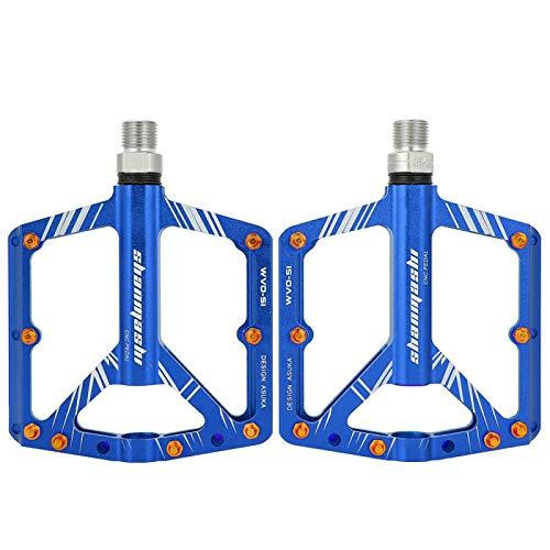 Buachois Pedali per Biciclette in Lega di Alluminio, Pedali per Mountain Bike, Pedali con Cuscinetti a Sfera Piatti Ultraleggeri Antiscivolo per Mountain Bike (5.2 * 4 * 0.8in)(Blu)