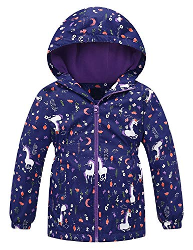 Echinodon Mädchen Jacke mit Fleecefutter Tailliert Outdoorjacke Reflektoren/Wasserabweisend/Winddicht Kinder Übergangsjacke Wanderjacke Blau 146-152 (Herstellergröße 150)