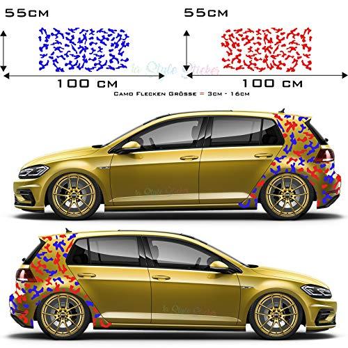 Seitenaufkleber Felcktarn Bodykit Sticker Camouflage 2 Farbig Car-Tattoo Golf Autoaufkleber