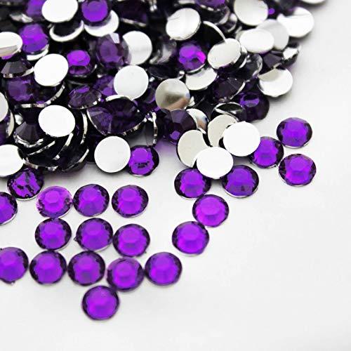 EliteKoopers Lot de 1000 Strass à Dos Plat pour Nail Art 2 mm, Violet, 2 mm