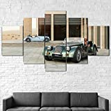 GSDFSD Cuadros Decoracion Dormitorios 5 Piezas 150x80cm - Cuadro sobre Lienzo - Impresión En Lienzo Montado sobre Marco De Madera - Coche Deportivo Green Plus Six First Edition