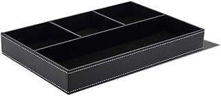 Gutyan Organizador de Mesa 4 Compartimentos Bandeja de Valet de Cuero sintético Aparador de Escritorio Caja organizadora S...