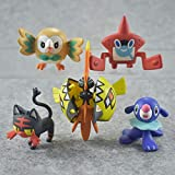 6Pezzi/ SetGiocattoliPokemonPer BambiniBambolePokemonPocket MonstersRowletPopplioLittenTapuKoko Pikachu Action Figures 5-7Cm