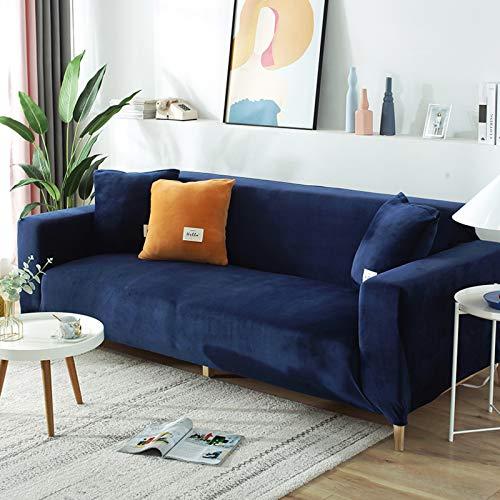 Felpa La Funda para Sofa para 3 Plazas,Terciopelo Funda Sofá Elasticidad Silla Reclinable Cubrir Mueble Sofás Loveseat Protector De Cubierta-Azul 145-185cm(1 pcs)