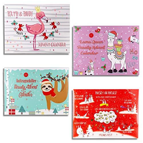 schenken-24 Adventskalender gefüllt/zum auswählen/Bath & Body/Lama/Flamingo/Faultier/Mädchen, Adventskalender befüllt:Lama Queen
