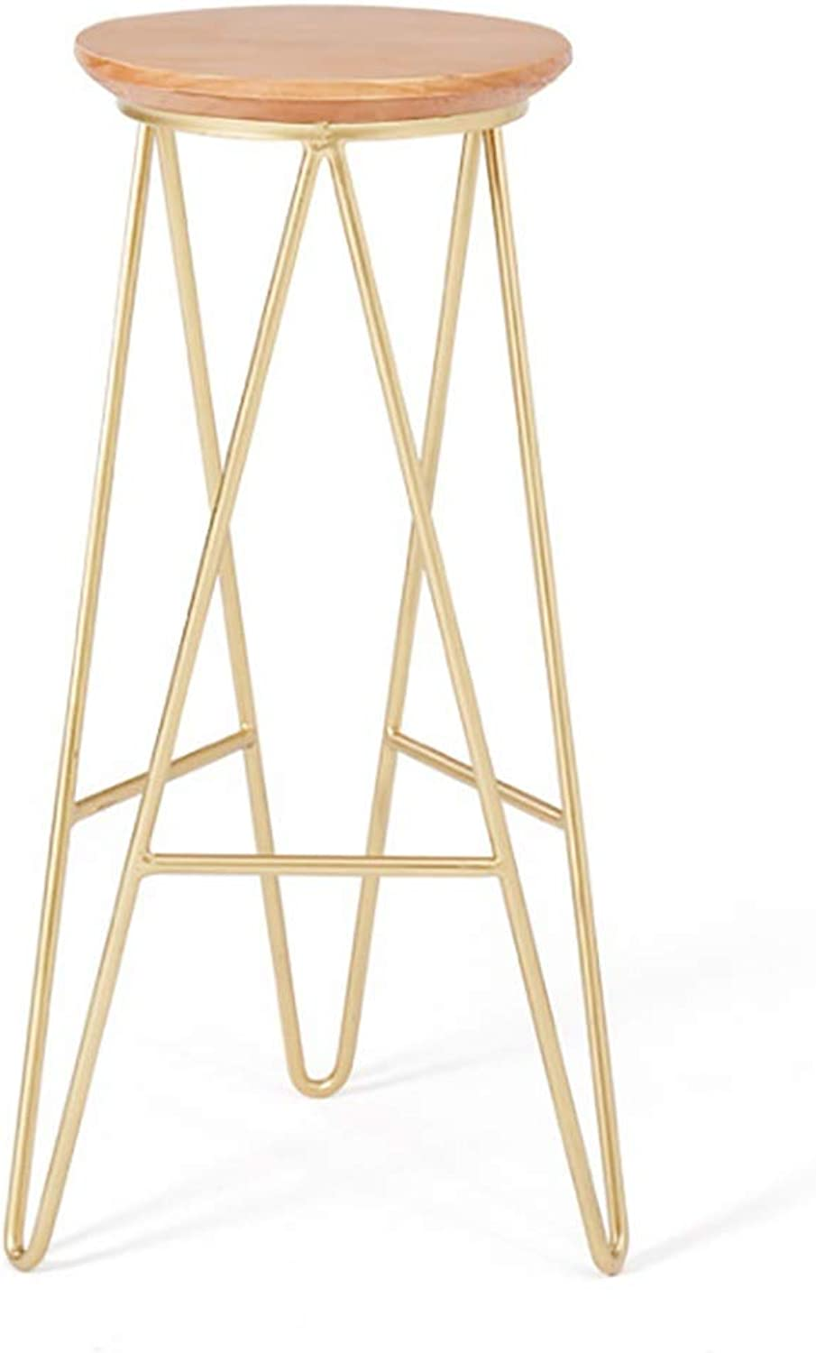 Nordic Minimalist Bar Stool High Stool Bar Chair golden Home Wrought Iron Stool Size  30  30  75CM