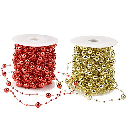 Artiflr 2Pack Christmas Tree Beads Garland,Total 131 Foot Fishing Line Artificial Pearls Beads String Roll Chain Faux Pearl Beaded Trims for Wedding Christmas and Holiday DIY Supplies (Red&Gold)