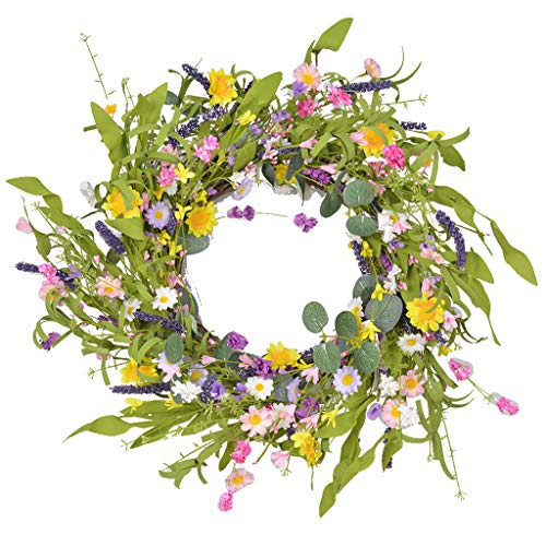 Artificial Lavender Daisy Wreath Spring Summer Faux Floral,19.6 Inch Wreath Front Door Hanging Garland for Indoor Outdoor Home Wedding Window Wall Decoration