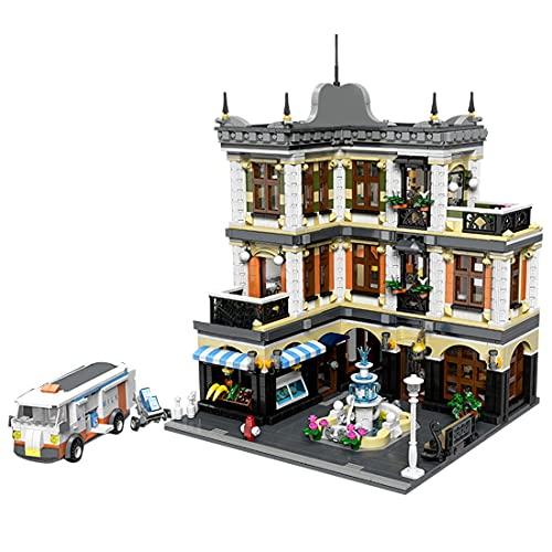 Xshion Brunnen Einkaufszentrum Modular Haus Bausteine, 3240 Teile Haus Klemmbausteine, Mould King 89113, 3-Etagen Modular Architektur Modell Erwachsene