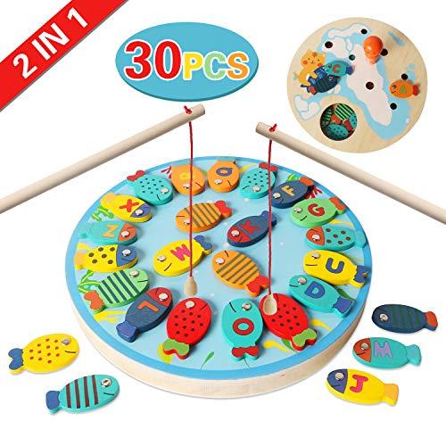YifKoKo Magnetische Angeln Spielzeug-Spiel für Kleinkinder Holzspielzeug Angeln Reisen Tischspiele Geschenk für 2 3 Jahre alt Grundlegende pädagogische Anzahl Lernspielzeug (Stil 2)