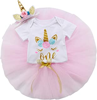 3PCS Unicorn Outfit Newborn Baby Girls 1st Birthday Romper + Tutu Skirt Dress + Headband Clothing Set