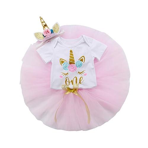 556763a27de8 Amazon.com  3PCS Unicorn Outfit Newborn Baby Girls 1st Birthday Romper +  Tutu Skirt Dress + Headband Clothing Set  Clothing