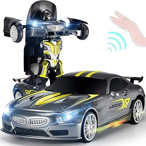 Yppss RC un botón eléctrico luz de sonido robot coches deformación carreras control remoto coche recargable 1:14 modelo coche inalámbrico, el para niños RC vehículo eterno