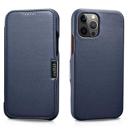 Mobiskin Hülle kompatibel mit Apple iPhone 12 & iPhone 12 PRO (6,1 Zoll), Handyhülle mit echtem Leder, Hülle, Schutzhülle, dünne Handy-Tasche, Slim Cover, Blau