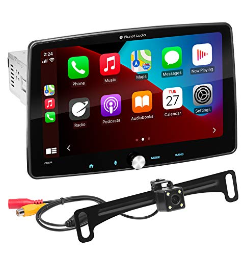 Planet Audio P90CPAC Apple CarPlay Android Auto Car Receiver - Single Din with 9 Inch Capacitive Touchscreen, Rear Camera Included, Bluetooth, No DVD, Multicolor Illumination, A-Link-Screen Mirroring