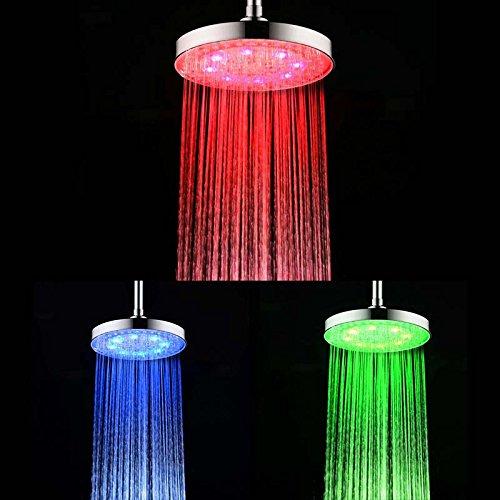 Soffione doccia 8 pollici ABS doccia a pioggia sensore di temperatura LED pioggia soffione doccia LED Doccia a mano tondo con 3 colore del LED che cambia con CE / ROHS di certificati [Classe energetica A +] LD8030-C2