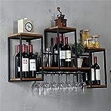 Soportes para copas Estantes industriales de pared para vino con soporte...