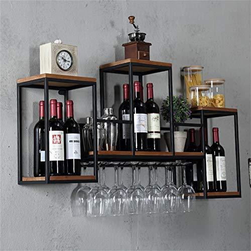 Soportes para copas Estantes industriales de pared para vino con soporte para vidrio de 6 tallos, estante para vino colgante de hierro, estante de pino de 3 niveles, estantes flotantes, estante de e