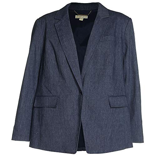 Michael Kors Women's Plus Long Sleeve One Button Boyfriend Blazer Jacket 24w Indigo