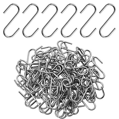 Mini S Hooks Connectors, 100pcs Alloy S-shaped Wire Hook Ornament Hooks Hangers for Diy Crafts Jewelry Key Chain Wood Circles - 22mm, Silver