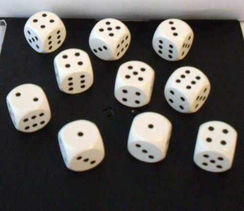 10 Würfel aus Ahornholz (16 mm)-weiß