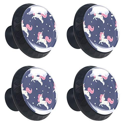 Juego de 4 pomos de cristal para armario de 1.18 pulgadas, tiradores transparentes para cajones de cocina, baño, aparador y armario, diseño de unicornio mágico plano